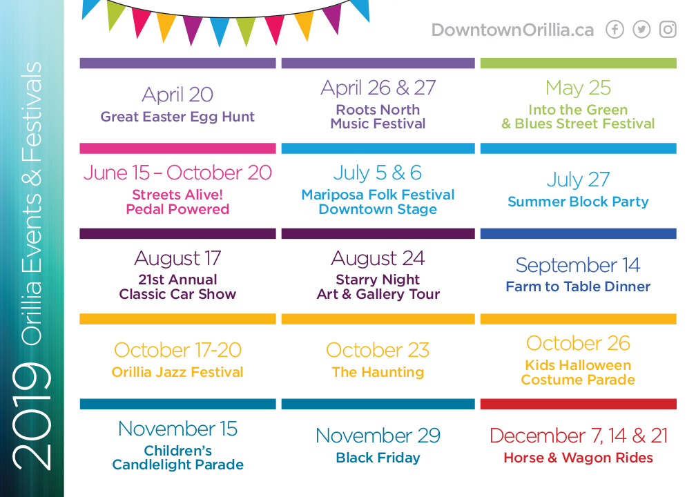 Downtown Orillia 2019 Events Postcard Back